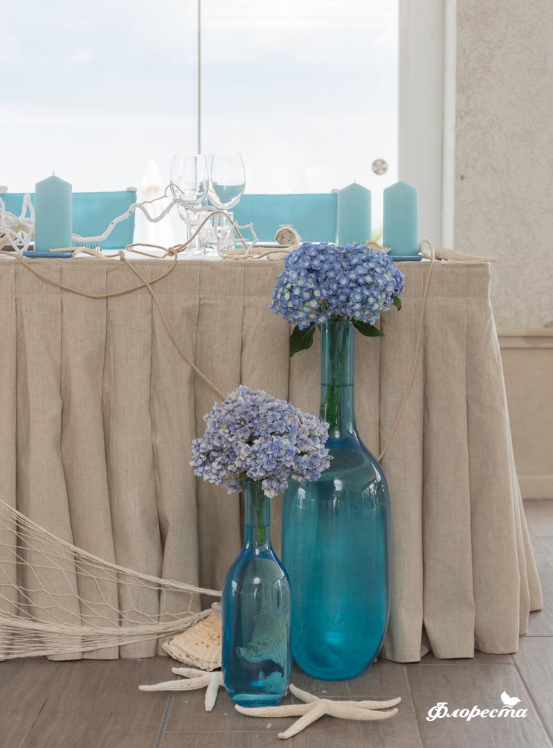 Декорация в синьо за сватбено тържество