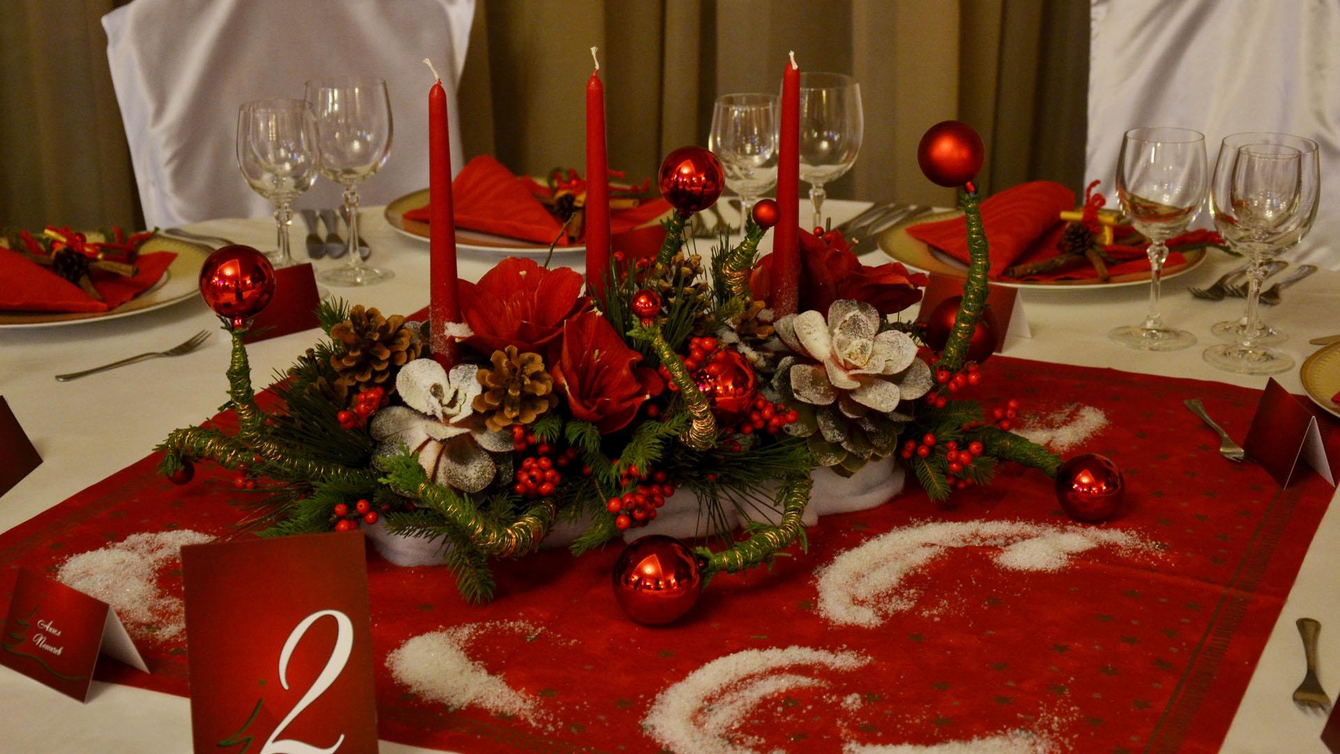 Коледна декорация на маса за гости в червено